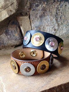 Leather Shotgun Shell Bracelets by JollysJewelry on Etsy, $35.00
