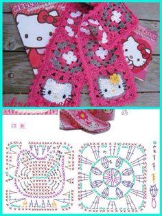 Diy Crafts - Ideas For Crochet Cat Scarf Hello Kitty crochet Motifs Granny Square, Granny Square Crochet Pattern, Crochet Diagram, Crochet Chart, Crochet Squares, Crochet Motif, Crochet Stitches, Granny Squares, Crochet Granny