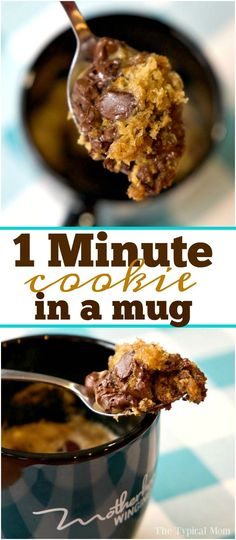 Chocolate chip cookie in a mug that just takes one minute and it's done! Perfect cookie for one when you just want a little something sweet at night. via /thetypicalmom/
