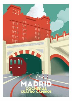 Madrid Metro, Travel Illustration, Europe, Vintage Travel Posters, Retro Posters, Spain Travel, Animal Crossing, Around The Worlds, City