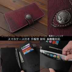 Concho can be selected according to your taste.   Genuine horsehide leather Card Wallet Book case for Smartphone and Apple iPhone 6/6s/7/Plus Wine Red WILD HEARTS Leather&Silver (ID sc3320t34)  http://global.rakuten.com/en/store/auc-wildhearts/item/sc3320t34/