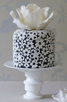 Beautiful Cake Pictures: Cutest Little Cake of Applique Flowers - Birthday Cake, Flower Cake, Little Cakes - Gorgeous Cakes, Pretty Cakes, Amazing Cakes, Fancy Cakes, Mini Cakes, Cupcake Cakes, Owl Cakes, White Cakes, White Wedding Cakes