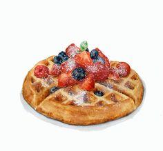 Swiss Waffles with Berries ORIGINAL Painting por ForestSpiritArt