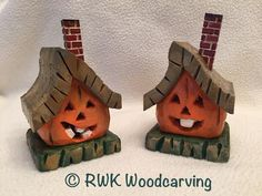 Carved Pumpkin Houses that light up with an electric tea light candle by RWK Woodcarving