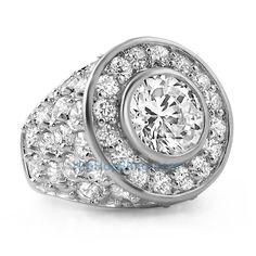HipHopBling.com Custom Centerstone Rhodium CZ Bling Bling Ring #blingring #hiphopbling #hiphopjewelry