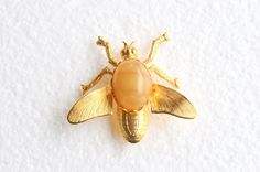 Butterscotch Agate Bee Brooch Vintage Banded Agate Wasp Flying Bug Figural Pin by CamanoIslandVintage on Etsy https://www.etsy.com/listing/97532752/butterscotch-agate-bee-brooch-vintage