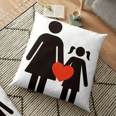 'Moms and daughters' Floor Pillow by Pillow Design, Sell Your Art, Floor Pillows, Daughters, Vibrant, Flooring, Art Prints, Mom, Printed