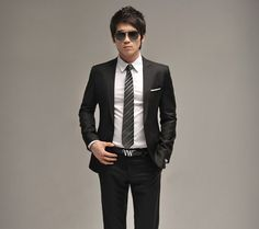 Men Full dress Casual Black Slim-fit
