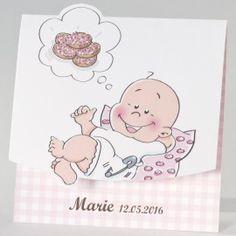 Cartoon geboortekaartje beschuit met muisjes - girl (505.128)