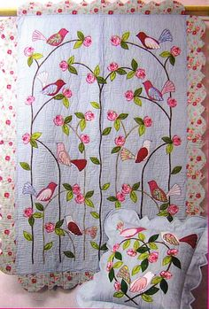 Love Birds - beautiful applique quilt and pillow pattern - Moonshine Designs.
