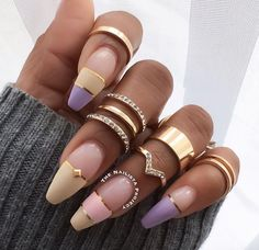 You want to keep the acrylic nails so they last longer and look much better. When you have very short or brittle nails, you can decide on a gel manicure. Diamond Nails, Gold Nails, Purple Diamond, Purple Gold, Nails With Diamonds, Glitter Nails, Cute Nails, Pretty Nails, Hair And Nails