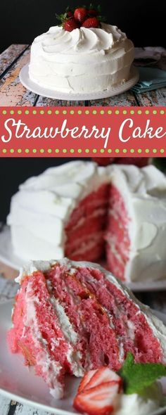 6 layers of strawberry cake deliciousness! this homemade cake is easy to make (despite the many steps). it's a must-try summer dessert! Brownie Desserts, Mini Desserts, Just Desserts, Delicious Desserts, Yummy Food, Coconut Dessert, Oreo Dessert, Coconut Cakes, Lemon Cakes