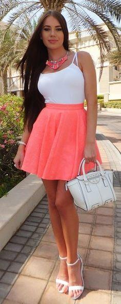 Neon Coral Skirt Streetstyle by Laura Badura Fashion