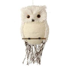 "RAZ Flat Owl on Perch Christmas Ornament  White Made of Foam, Polyester, Twig Measures 15"" Flat Backed  Snowy owl on a branch perch with twig branches for tail feathers. 2014 RAZ Owl be"
