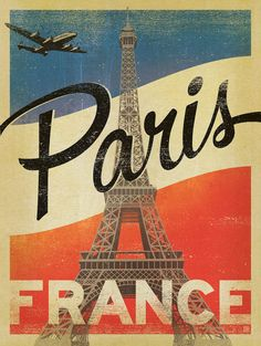 Paris vintage travel poster, French flag