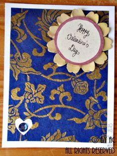 Blue baroque Valentines card