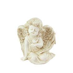 """6.5"""" Heavenly Gardens Distressed Ivory Sitting Cherub Angel w/ Bird Outdoor Patio Garden Statue,, Outdoor Décor"""