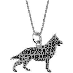 Jewel Exclusive Sterling Silver German Shepard Companion Pendant ($20) ❤ liked on Polyvore featuring jewelry, pendants, necklaces, multi, sterling silver jewellery, dog pendant, sterling silver jewelry, charm pendant and heart shaped jewelry
