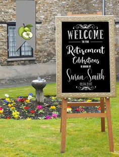welcome to our wedding chalkboard sign Ceremony by TheArtyApples Military Retirement Parties, Teacher Retirement Parties, Retirement Gifts For Men, Retirement Celebration, Retirement Pictures, Retirement Party Themes, Retirement Party Centerpieces, Diy Party Decorations, Wedding Program Sign