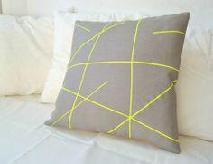 Grey linen with neon yellow stripes pillow cover Mikado Series. €27.00, via Etsy.