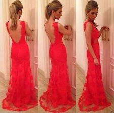Sexy Red Long Evening Party Prom Gown Formal Bridesmaid Cocktail Wedding Dress