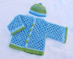 Remember the crocheted granny hexigon baby sweater that I introduced last summer in beautiful cotton colors? Well here is that same baby sweater done in chunky yarn, for a winter weight garment that can be worn as a coat in...