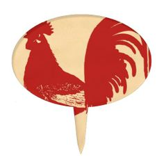 Red Rooster Cake Pick  #Rooster #CakeTopper
