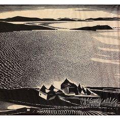 Jean kefalinos (Greek, Mykonian seascape woodcut via I'm A Believer, Art Articles, Collagraph, Scratchboard, Wood Engraving, Mykonos, Printmaking, Greek, Scene