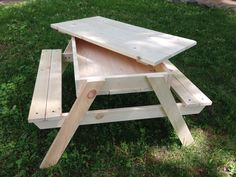 Homemade Furniture Childrens Picnic Table w/Removable Lid  Looking for a unique gift for your child, grandchild, or another special little one in your life? Our picnic table is the perfect solution! At just 19 high, its tailor-made for toddlers and small children. It features a removable lid and built-in compartment that can be used on the patio as a lunch/snack spot or sandbox (or both!), or in the playroom for building blocks, trains, race cars, coloring books, or other activities...