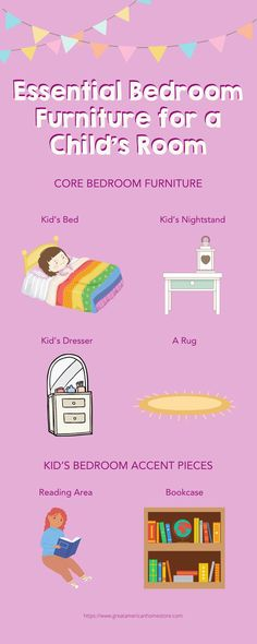 Deciding which furniture to get for a child's bedroom can be very difficult. In order to prevent such stress, look here for the essential furniture pieces. To help you with the challenges you'll face during this lengthy and involved process, here are the essential bedroom furniture pieces for any child's room. Great American Home Store. #gahs #greatamericanhomestore #furniture #kids #bedroom #homedecor #interiordesign #bedroomdesign