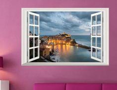 2017 Seaside 3D Window Night View Removable Wall Sticker