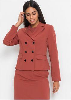 Jetzt anschauen: Dvouřadý blejzr v nádherných teplých barvách. S klopou, kontrastními knoflíky, podšívkou a postavě přiléhavým střihem. Délka ve vel. 42 cca 63 cm. Blazer, Outfit, Coat, Jackets, Fashion, Shabby Chic, Outfits, Down Jackets, Moda