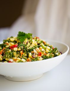 Summer Reboot Salad: Kale + Corn. Sweet Miso Tahini Dressing.