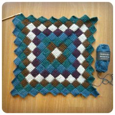 Entrelac Tunisian Crochet Blanket. Make a bunch of granny squares and put them at an angle