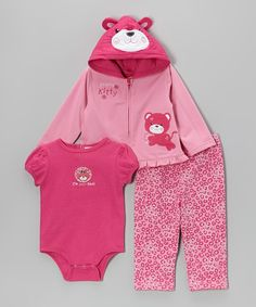 Another great find on #zulily! Weeplay Kids Pink Kitty Zip-Up Hoodie Set - Infant by Weeplay Kids #zulilyfinds
