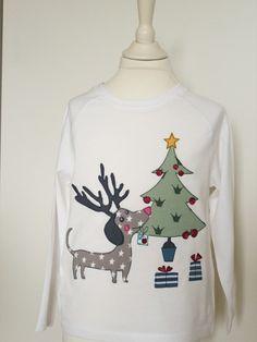 """Langarmshirts - Langarmshirt """"Weihnachts-Dackel"""" weiß - ein Designerstück von…"""