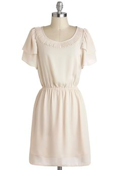 Seashell I Compare Thee Dress - Mid-length, Cream, Solid, Pleats, Tiered, Trim, Casual, A-line, Short Sleeves    http://www.modcloth.com/shop/dresses/seashell-i-compare-thee-dress