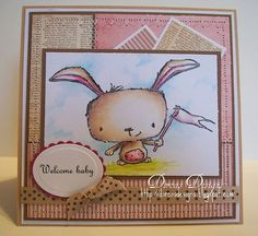 Baby card by Dorcas Perkins.  Stacey Yacula Studio stamps by Purple Onion Designs.