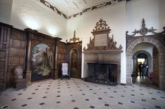 Aston Hall interior - fireplace in Great Hall.