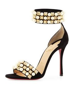 Tudor+Studded+Red+Sole+d\'Orsay+Sandal,+Black+by+Christian+Louboutin+at+Neiman+Marcus.