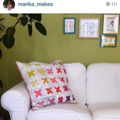 So happy that my Kisses pillow finally arrived at Marika's place :D Love how it looks on her couch! Regram from @marika_makes