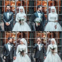 You will find different rumors about the history of the wedding dress; Wedding Hijab Styles, Red Wedding Dresses, Wedding Gowns, Wedding Day, Muslim Wedding Gown, Hijab Dress Party, Cute Muslim Couples, Bridal Hijab, Marriage Dress