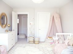 A chic toddler room inspired by Pantone's color of the Year. It pairs rose quartz with gold accents and whimsical details like a play tent and a dress-up corner perfect for a little girl's bedroom. Baby Bedroom, Nursery Room, Girl Toddler Bedroom, Bedroom Decor, Room Baby, White Nursery, Girl Nursery, Nursery Themes, Nursery Ideas