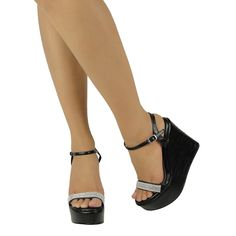 Black dress sandal rhinestone straps