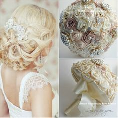 Wedding brooch bouquet Ivory and beige Brooch bouquet Pearl bouquet Rustic gold…