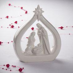 White Ceramic Nativity Scene - nativity scenes & figures