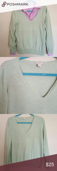 J Crew sweater Classic J . Crew V neck sweater  Good used condition  Light green color, 100 % cotton J. Crew Sweaters V-Necks
