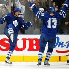 """""""Mats Sundin celebrates a goal with Nik Antropov. A decade after Sundin eased Antropov into the NHL, he remains grateful for the captain's influence. Hockey Goal, Hockey News, Maple Leafs Hockey, National Hockey League, Toronto Maple Leafs, A Decade, Athletes, Nhl, Grateful"""