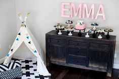 Teepee and Dessert Table - adorable set-up and gift at a baby shower!