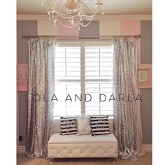 I made these silver sequin curtains to match the gold version in Darla's room. More